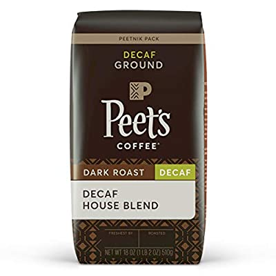Peet's Coffee Decaf House Blend, Dark Roast, Ground Coffee, Decaf House Blend, 18 Oz