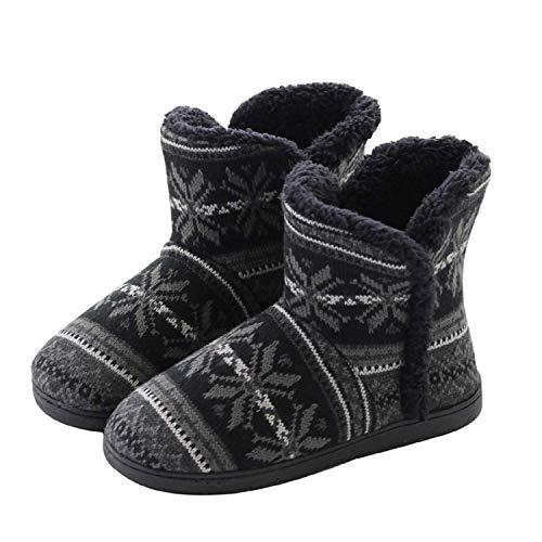 AONEGOLD Hausschuhe Hüttenschuh Hohe Gefüttert Hüttenstiefel rutschfest Winter Pantoffeln für Unisex-Erwachsene(Schwarz,41-42 EU)