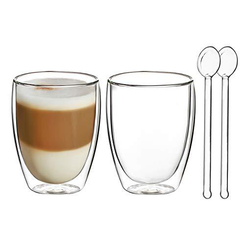 Vasos de Café de Doble Pared Juego de 2-250ml Vasos de Vidrio Borosilicato para Té, Latte, Leche, Cappuccino, Jugo - 2 Cuchara de Vidrio Gratis