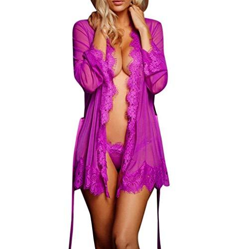 HaiDean pyjama vrouwen kant transparante nachtjapon effen kleur met eenvoudige glamoureuze riem lange mouw ademende pyjama bovenkleding