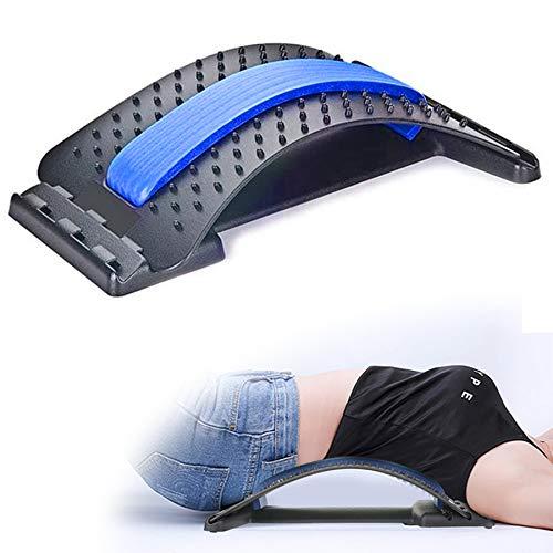 Charminer Dispositivo de Estiramiento Lumbar,3 Niveles Ajustables Masajeador Lumbar de Espalda Soporte Lumbar para Aliviar el Dolor y Lesiones Corrector de Postura Soporte para Estiramiento