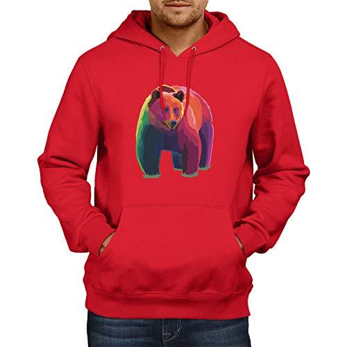 Nerdo Neon Bear Sweat à Capuche Homme, Rouge, XXL