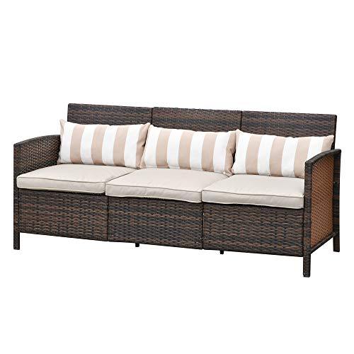 Outsunny Rattan Sofa mit Kissen, Dreisitzer, Garten Loungesofa, Stahl, Braun, 173 x 68 x 78 cm