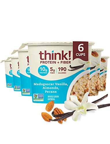 think! (thinkThin) Instant Oatmeal Cups - Protein & Fiber - Vegan, Steel Cut Oats, 5g Fiber, Non GMO, 10g Protein, Madagascar Vanilla, Almonds, Pecans, 6 Cups - Packaging May Vary