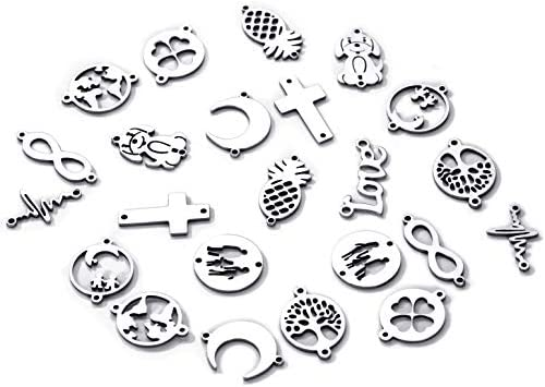 50pcs Mix Stainless Steel Moon Cross Tree of Life Pendants Charms Link Connector Bracelet DIY product image
