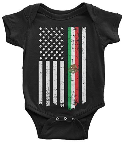 Threadrock Baby Mexican American Flag Infant Bodysuit 12 Months Black