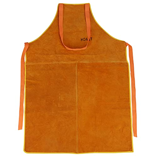 Cowhide Leather Welding Work Aprons for Welder/Blacksmith/Woodworking/Home Improvement/Heavy Duty Work Heat and Flame Resistant (brown)