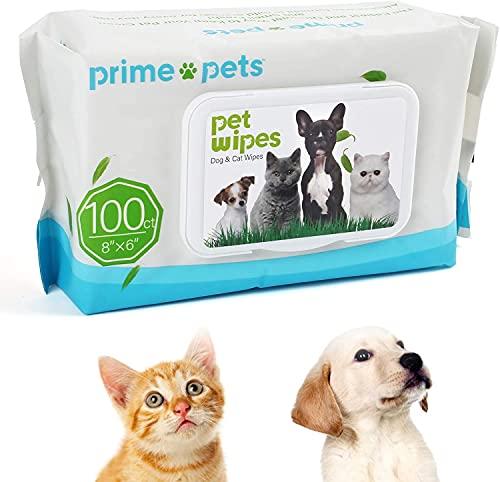 PrimePets 100 Piezas Toallitas Higiene Perro y Gato, Toallitas de Aseo de Cuidado para Mascotas Desodorizante Hipoalergénico 100% Libres de Fragancia, Naturales y Antibacterianas para la Limpieza