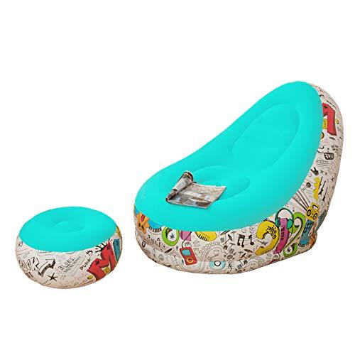 Ponacat Silla inflable con tumbona otomana, tumbona, tumbona, sofá flocado, asientos inflables portátiles para salón, silla inflable para interior y exterior