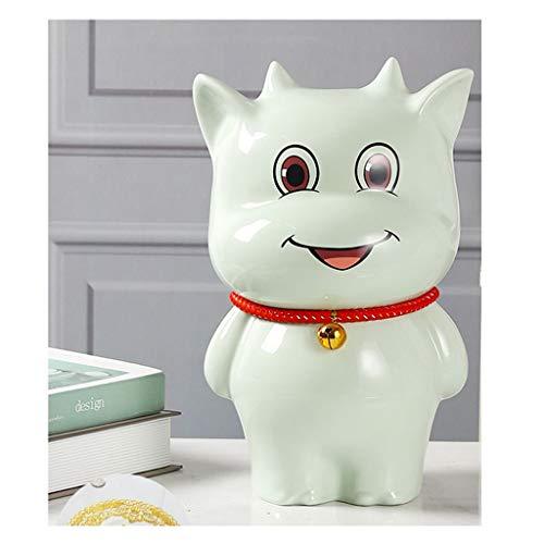 Hucha Banco de Dinero Hucha, Niño de apreciar cerámica Piggy Bancos Juguete del Banco del Dinero del Banco de Moneda for los Muchachos Muchachas de los Cabritos (Color : Green, tamaño : Small)