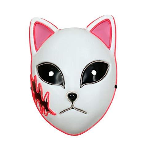 ExH Máscara de Anime Japonés,Máscara Japonesa Anime Demon Slayer Máscara del Asesino del Demonio del Anime del Juguete del Tocado del Led Cosplay Máscara del Asesino del Demonio