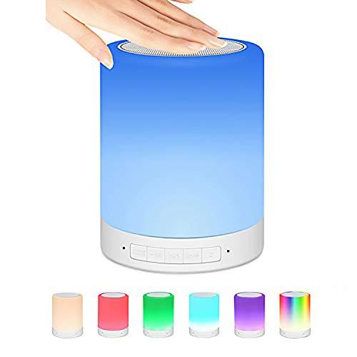 Nachtlicht, Bluetooth-Lautsprecher, Nachttischlampe, LED-Lampe mit Touch-Steuerung, dimmbar, 7 Farben