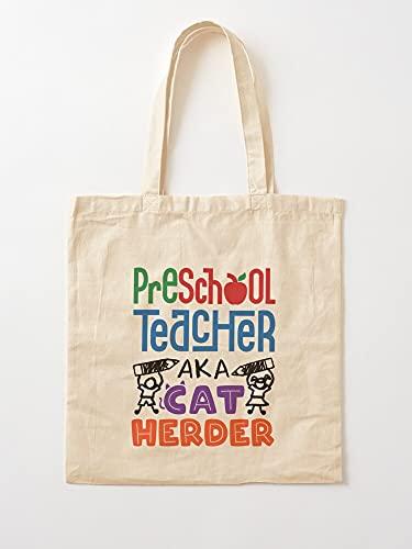 Aka Teaching Kindergarten Care Cat Day Pre Herder Teach Funny K Preschool Teacher - Borse per la spesa in tela con manici in cotone resistente