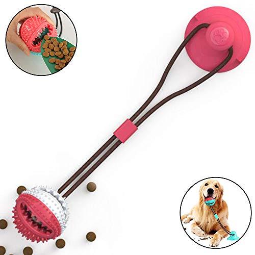 AFFINEST Hundespielzeug mit Saugnapf Ziehspielzeug Hund Ball Kauspielzeug Multifunktions-Spielzeug für Haustiere Zahnreinigungsspielzeug,A Rosa