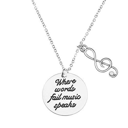 Infinity Collection Music Necklace Where Words Fail Music Music Speaks Jewelry Gift  Treble Clef Jewelry  Music NoteMusic Lover Jewelry Gift