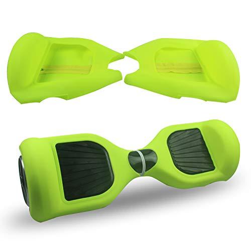 ABBY Hoverboard Hülle Silikon Schutzhülle für 6,5 Zoll 2 Rader Smart Self Balancing Elektro Scooter Cover (Hellgrün+Reißverschluss)