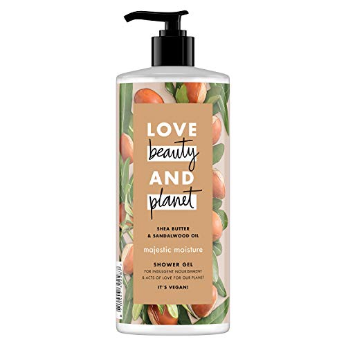 Love Beauty And Planet Vegan Natural Shea Butter + Sandelholz Nachhaltig gewonnenes Körperwaschmittel für Frauen Bio-Feuchtigkeitsspendendes Duschgel für empfindliche Haut 3 Monate Vorrat (6 x 500 ml)