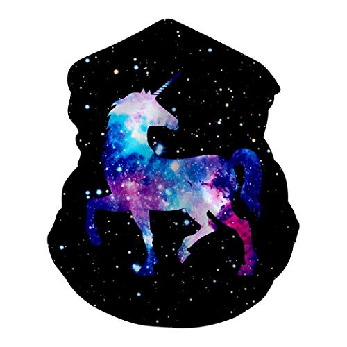 Mamihong Cool Galaxy Horse Bandanas Medianas de mascarilla para Polvo, Headwe Casual deportivoar Polaina de Cuello sin Costuras, Headwrap White