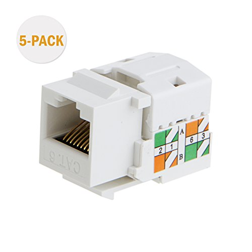 CableCreation RJ45-Koppler 5-Pack Cat6 / RJ45 Keystone Modulverbinder, rj45 Kupplung, Weiß