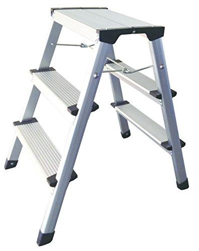 1PLUS Aluminium Tritthocker Tritt Leiter Trittleiter Klapptritt bis 150 kg belastbar (2 x 3 Stufen)
