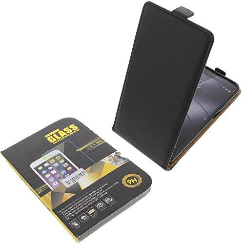 foto-kontor Tasche für Gigaset Me Pro Smartphone Flipstyle Schutz Hülle schwarz + Schutzglas