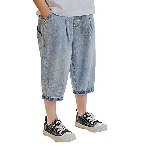 ZRFNFMA Ropa de Niños Niños Jeans Niños Pantalones de Verano Niños Pantalones Guapo Pantalones Grandes Niños Pantalones de Cinco Puntos, azul, 110