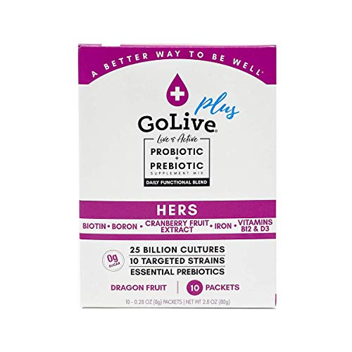 GoLive HERS for WOMEN Sugar-Free Synbiotic (Probiotic & Prebiotic); +25 Billion CFUs; 10 Clinical Strains. Formulated and Recommended by Doctors and Dietitians for Digestion, Metabolism, Immunity.