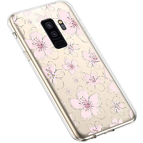 Uposao Compatibile con Samsung Galaxy S9 Plus Creativo Trasparente con Fiore Floreale Motivo Disegni Morbida Silicone Ultra Sottile TPU Gel Custodia Protettiva per Donna,Acquerello pesco