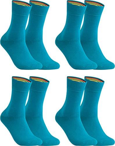 gigando – Socken Herren Baumwolle Uni Farben 4er oder 8er Pack in Premiumqualität – bunt farbige Strümpfe für Anzug, Business, Freizeit – ohne Naht - in petrol Größe 43-46