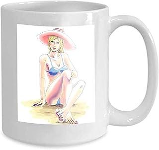 Tasse à café tasse à thé maison élégante fille Bikini chapeau lunettes de soleil se trouve san jeune élégante fille blonde...