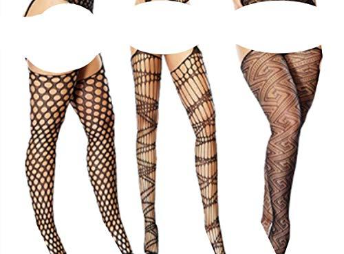 HNJZX Damen Netzstrumpfhose / Strapsstrümpfe, Übergröße, Sexy Dessous, durchsichtige Spitze, 3er-Pack, a