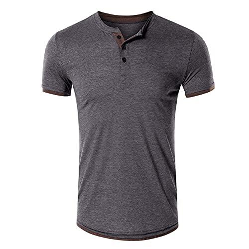 SSBZYES Camisetas De Algodón para Hombre Camisetas De Manga Corta De Verano para Hombre Camisetas De Cuello Redondo para Hombre Camisetas Henley De Color Sólido Camisetas De Manga Corta para Hombre