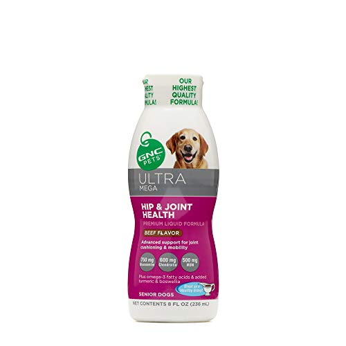 GNC Pets Ultra Mega Hip and Joint Health Beef Flavor Liquid Supplement for Senior Dogs, 236 ml