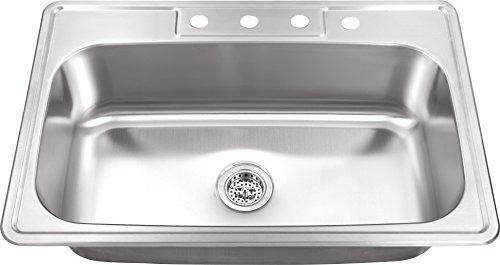 Soleil SSDP3322SB 33-in x 22-in Stainless Steel Single Bowl Drop-In Kitchen Sink