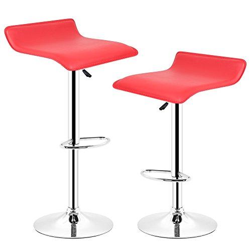 POPSPARK Tabouret de Bar Lot de 2 Design en Cuir Simili et métal chromé, tabourets réglable - Rouge
