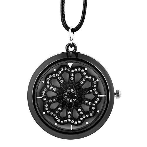LLXXYY Hombre Mujer Reloj De Bolsillo Vendimia Collar Propósito General, Novedad Collar Negro Ver Insertar Rombo Crystal Tornamesa Reloj Reloj De Cuarzo De Cuerda De...