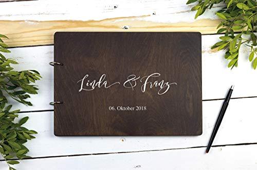 Hochzeit Geschenk mit Namen *personalisiertes Holzalbum* A4, Gästebuch, Gastgeschenk, Fotos Hochzeit, Hochzeitsalbum