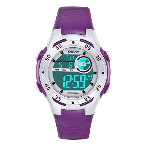 Jungen Digitaluhren Kinder Uhr Mädchen Jungenuhr Wasserdicht 5ATM Sportuhren Digital Armbanduhr Uhr mit Wecker/Stoppuhr, Datum & Woche und Kalender,Nachtlicht Outdoor Sports Uhren (Lila)