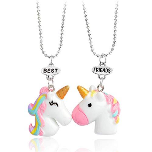 Tumao Collana Best Friends per 2 Bambine - Collana di Unicorno Rosa-Regalo per Bambini-Collana di Amicizia