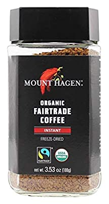 MOUNT HAGEN, Organic Fairtrade Coffee,Instant Freeze-Dried, Pack of 6, Size 3.53 OZ - No Artificial Ingredients Fair Trade Item 95%+ Organic