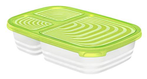 Rotho Sunshine Kühlschrankdose mit 3 Fächern 1 l, Kunststoff (BPA-frei), Grün/Transparent, 1 Liter (23,3 x 16 x 5,4 cm)