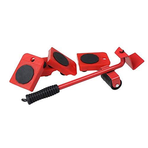 HRB Möbelroller Rollen-Set 5-teilig mit Lastenheber / 150kg Tragkraft pro gummiertem Rolluntersatz/Ideal für Möbel-Transport beim Umzug