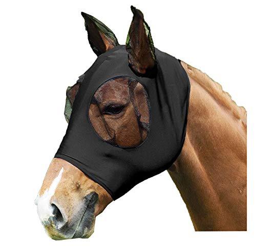 SISIEU Fliegenmaske,Horse Fly Lycra Mask, mit Ohrenschutz,Mesh Vermeidet UV-Strahlen, für Horse/Cob/Pony Equestrian Mesh-Augen (Horse, Schwarz)