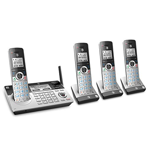 AT&T TL96477 DECT 6.0 Expandable Cordless Phone with Bluetooth Connect to Cell, Smart Call Blocker and Answering System, Silver/Black with 4 Handsets
