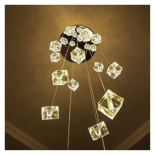Plafoniera Lampadario di cristallo di design moderno Lampadario a LED Cristal Scala a sfera Appeso Lampada a sospensione Luxury Chrome Hall Hallway Home Decor Light Fixture