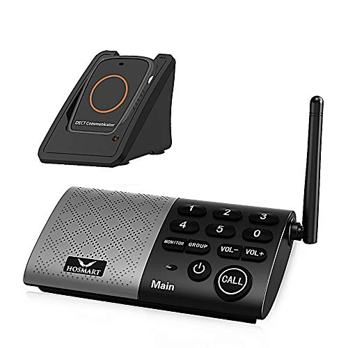 Hosmart Wireless Two-Way Conversation Caregiver Pager for Elderly Senior, Personal Alert Alarm,Call Button for Home Safety (Black)