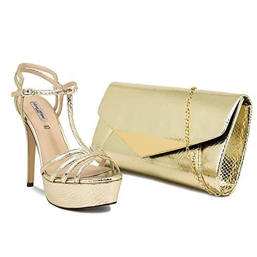 QUEEN HELENA Scarpe Eleganti da Donna con Tacco a Spillo Decollété a Punta Aperta Sandali da Cerimonia (Scarpa Oro con Pochette, numeric_37)