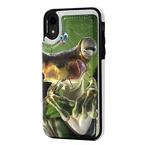 N/A Lederen iPhone XR Portemonneehouder, Kaarthouder Case met Creditcard Slots Kikker Eten Voedsel, Anti-Scratch Schokbestendig Zachte TPU Bumper Full-Body Beschermende Hoesje Cover voor iPhone XR 6.1 Inch