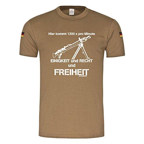 BW Tropen Hier kommt 1200 pro Minute EINIGKEIT und RECHT und Freiheit_Bundeswehr Tropenshirt MG3 Maschinengewehr Humor Fun Spaß Reservist BW Tropen T-Shirt (Herren XXXL, Khaki)