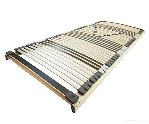 AM Qualitätsmatratzen Ergonomischer 7-Zonen Lattenrost - 90x200 cm - fertig montiert - 44 Leisten - NV Starr - Holmabsenkung für Schulter und Becken - 90x200cm